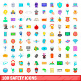 100 safety icons set, cartoon style. 100 safety icons set in cartoon style for any design vector illustration Stock Photo
