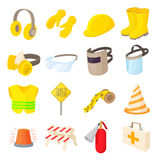 Safety icons set, cartoon style Stock Images