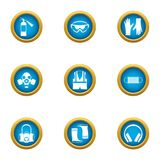 Safety icons set, flat style royalty free illustration