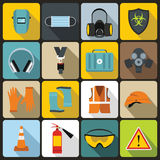 Safety icons set, flat style Royalty Free Stock Photo
