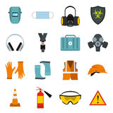 Safety icons set, flat style Stock Photography