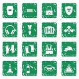 Safety icons set grunge Royalty Free Stock Photo