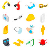 Safety icons set, isometric 3d style Royalty Free Stock Photos