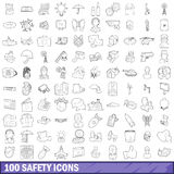 100 safety icons set, outline style. 100 safety icons set in outline style for any design vector illustration Stock Photo