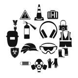 Safety icons set, simple style. Safety icons set in simple style for any design Royalty Free Stock Image