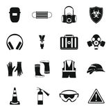 Safety icons set, simple style Royalty Free Stock Photo