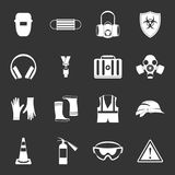 Safety icons set grey vector. Safety icons set vector white isolated on grey background Stock Photo