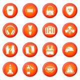 Safety icons vector set. Of red circles isolated on white background Stock Image