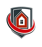 Safety idea, abstract vector heraldic symbol with classic house. Royalty Free Stock Photo