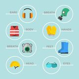 Safety industrial gear tools flat vector illustration. Safety industrial gear kit and tools flat vector illustration. Industrial safety body protection worker Stock Photography