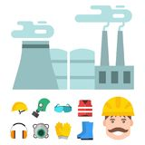 Safety industrial gear tools flat vector illustration body protection worker equipment factory engineer clothing. Royalty Free Stock Photography