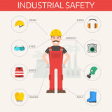 Safety industrial gear kit and tools set flat vector illustration. Body protection worker equipment elements infographic. Safety industrial gear kit and tools stock illustration