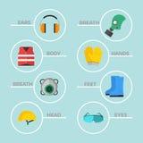 Safety Industrial Gear Tools Flat Vector Illustration