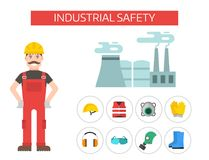 Safety industrial man gear tools flat vector illustration body protection worker equipment factory engineer clothing. Royalty Free Stock Photography