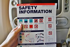Boeing 777 safety information Stock Image
