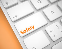 Safety - Inscription on the White Keyboard Button. 3D. Stock Photography