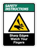 Safety instructions Sharp Edges Watch Your Fingers Symbol Sign Isolate On White Background,Vector Illustration. Accident, activation, alarm, alert, area, avoid royalty free illustration