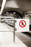 Safety Interdiction Sign (Do not Cross) on a Subway Platform Royalty Free Stock Images