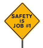 Safety is Job No. 1. Road sign highlighting the importance of safety (isolated on white with clipping path Stock Photos