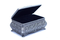 opened silver chest on white background. Safety for keep any of luxury things on chest, especially gold stuff Stock Photo