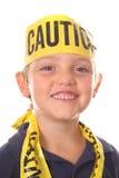 Safety kid smiling. Isolated on white Stock Image