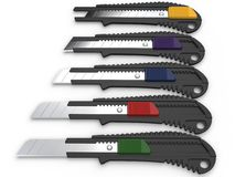 Safety knives with snap off blades Royalty Free Stock Image