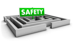 Safety Labyrinth. Safety concept with labyrinth and green goal sign on white background Stock Images