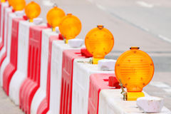 Safety Lamp. & Water Filled Barrier on the Road Royalty Free Stock Images