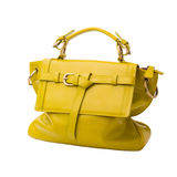 Safety lemon yellow female leather bag isolated on white backgro Royalty Free Stock Photography