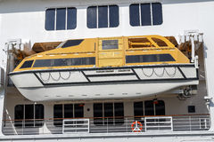 Safety lifeboat on deck of a cruise ship Royalty Free Stock Images