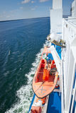 Safety lifeboat on deck of a ship Stock Photos