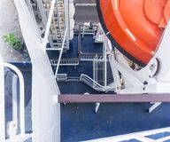 Lifeboat and liferafts on deck of a ship royalty free stock photography