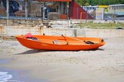 Safety lifeboat. Plastic boat at beach lifeguard station, Odessa, Ukraine Stock Photo