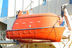 Safety lifeboat on ship deck Stock Photos