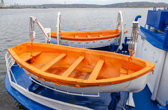 Safety lifeboats of the passenger ship Stock Photos