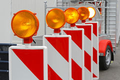 Safety light. Flashing beacon lights for road works safety Royalty Free Stock Photos