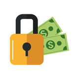 Safety lock and dollar bills icon Stock Photo