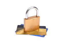 Safety Lock on set of credit debit cards Royalty Free Stock Image