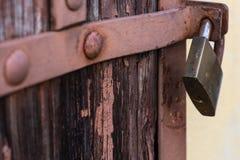 safety lock on a vintage door bar stock photo