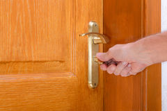 Safety Lock on a Wooden Door royalty free stock photo