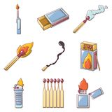 Safety match ignite burn icons set, cartoon style. Safety match ignite burn icons set. Cartoon illustration of 9 safety match ignite burn vector icons for web Royalty Free Stock Images