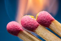 Safety match with red head. Stock Photography