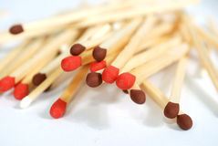 Safety matches. Heap of matches on white background Stock Images