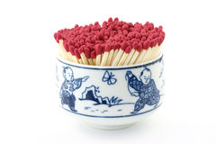 Safety Matches In Colorful Bowl Royalty Free Stock Photography