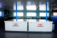 Safety measures inside of a Ferry Boat. Stock Photos