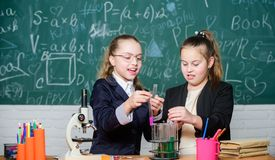 Safety measures for providing safe chemical reaction. Genius kids work on own chemical theory. Basic knowledge of. Chemistry. Pupils cute girls use test tubes royalty free stock images