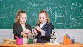 Safety measures for providing safe chemical reaction. Make studying chemistry interesting. Basic knowledge of chemistry. Pupils cute girls use test tubes with royalty free stock image