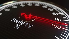 Safety meter or indicator. 3D rendering. Safety meter or indicator 3D rendering Stock Photos