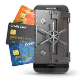 Safety of mobile banking concept. Secure online payment. Smartph. One as vault and credit cards. 3d Stock Photo