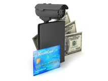 Safety money - bills, credit card, wallet and video surveillance Stock Photo
